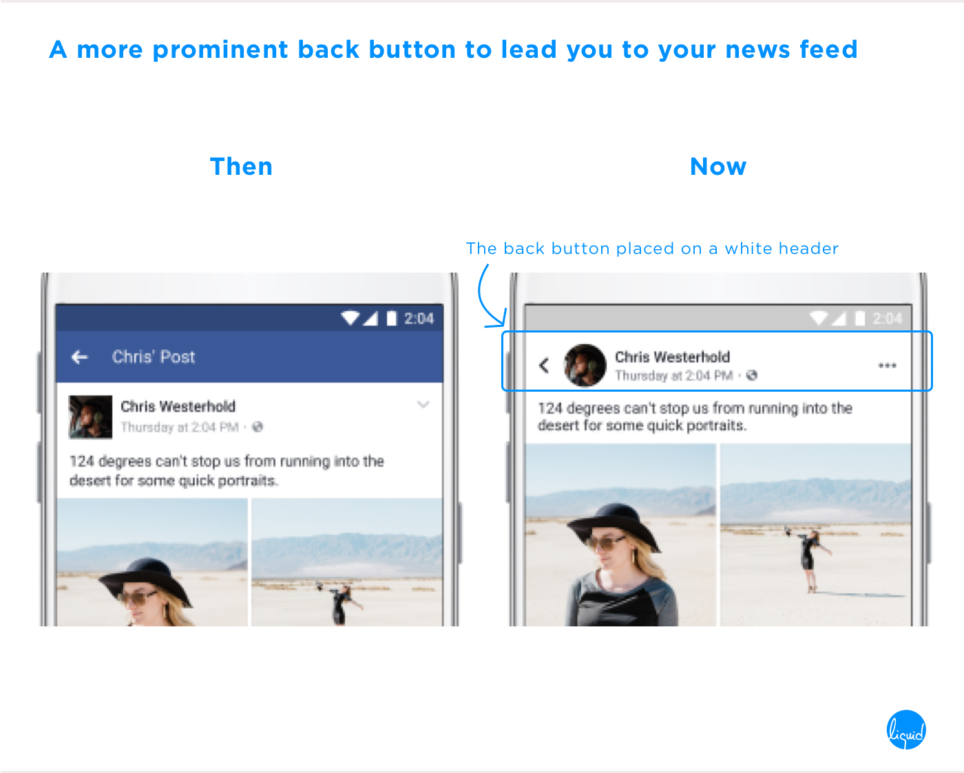 Facebook's new user interface Back Button