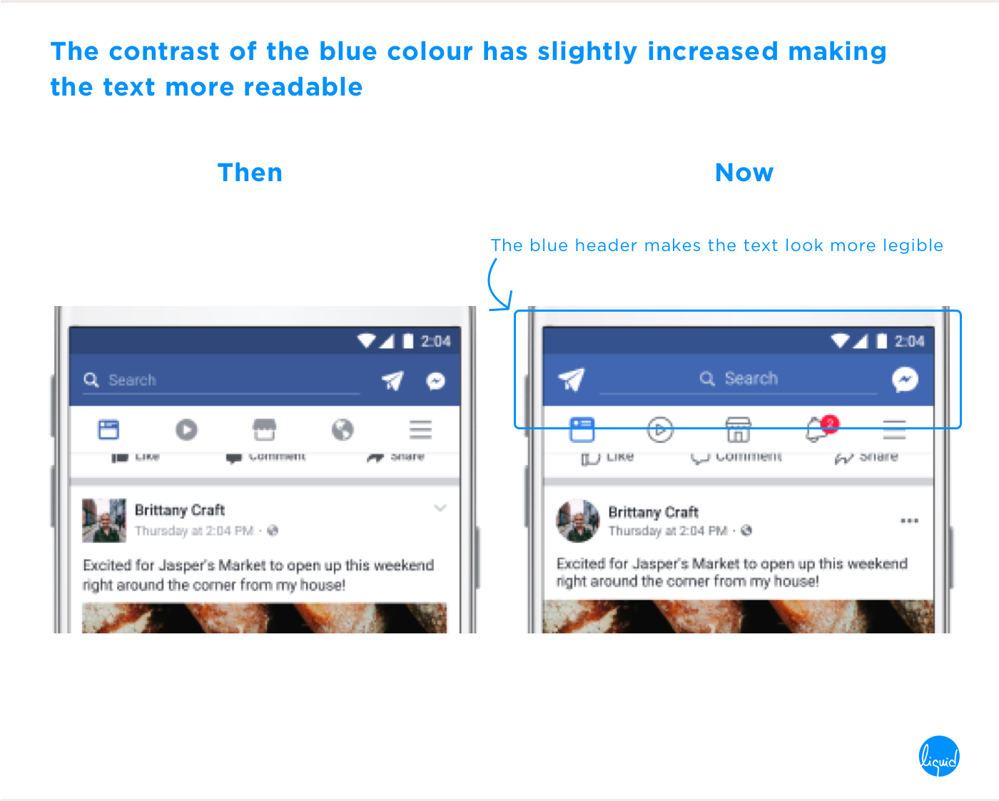 Facebook's new user interface Contrast