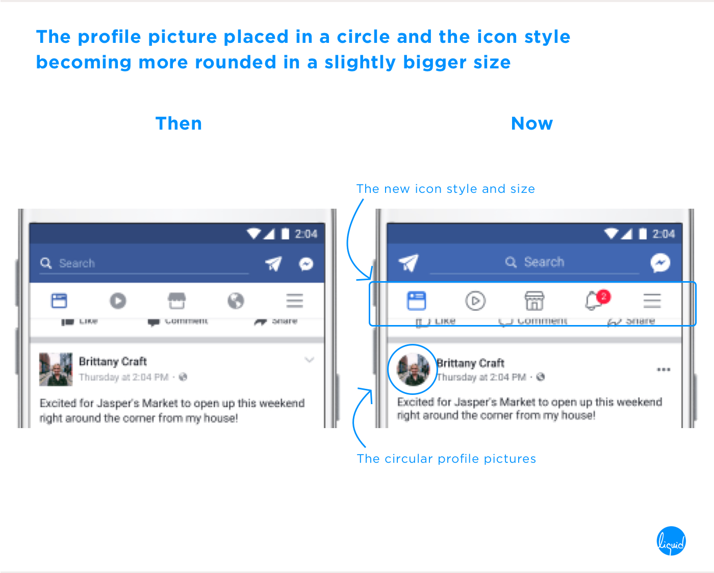 Facebook's new user interface Icons and Profile Picture