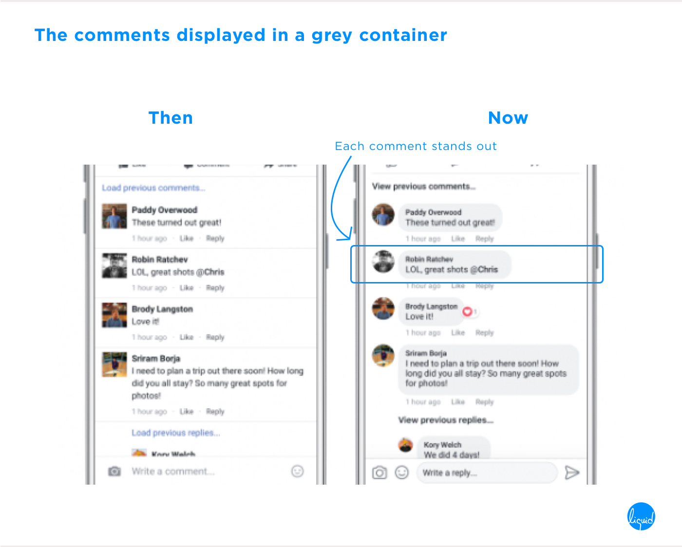 Facebook's new user interface comments