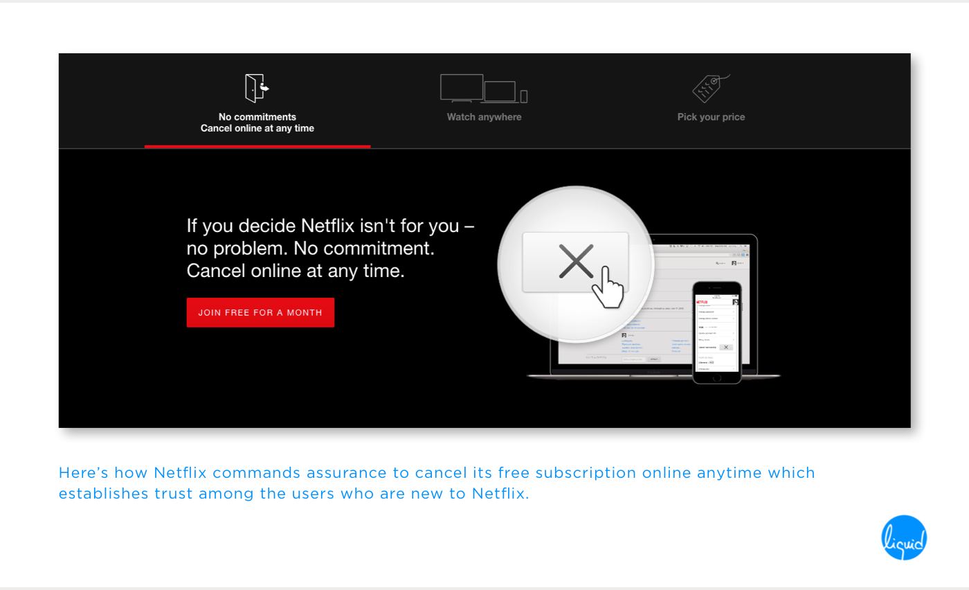 Microcopy for Netflix's free subscription