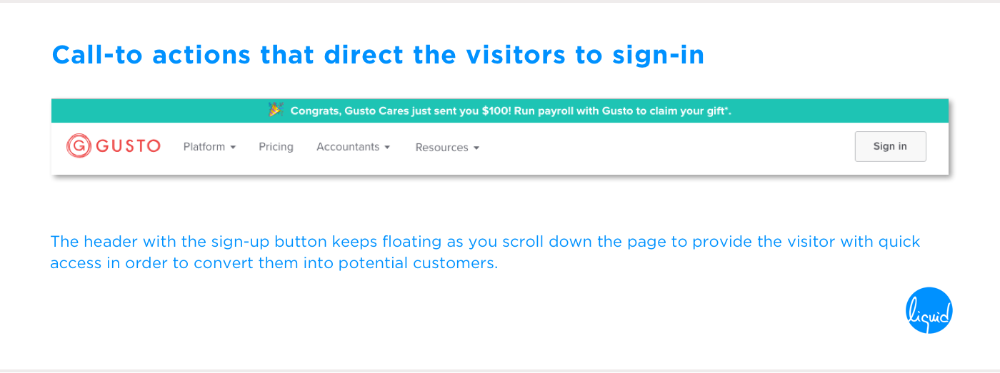 Conversions on home page Gusto Call-to-action