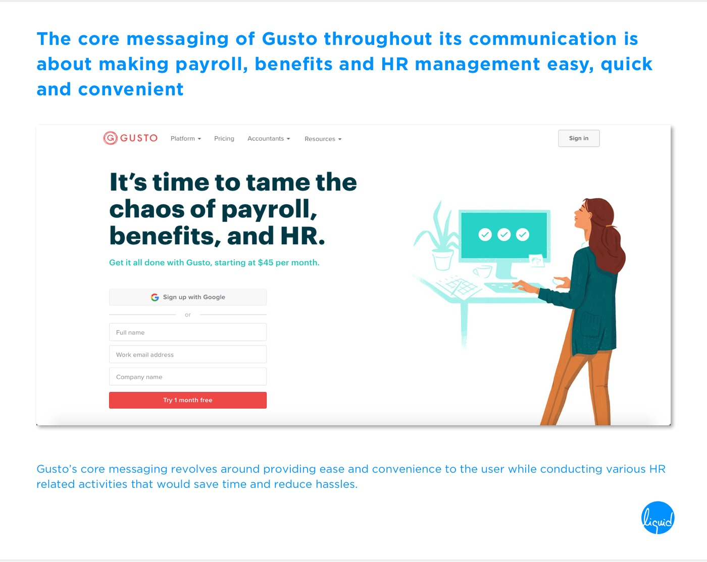 Conversions on home page Gusto Core Messaging