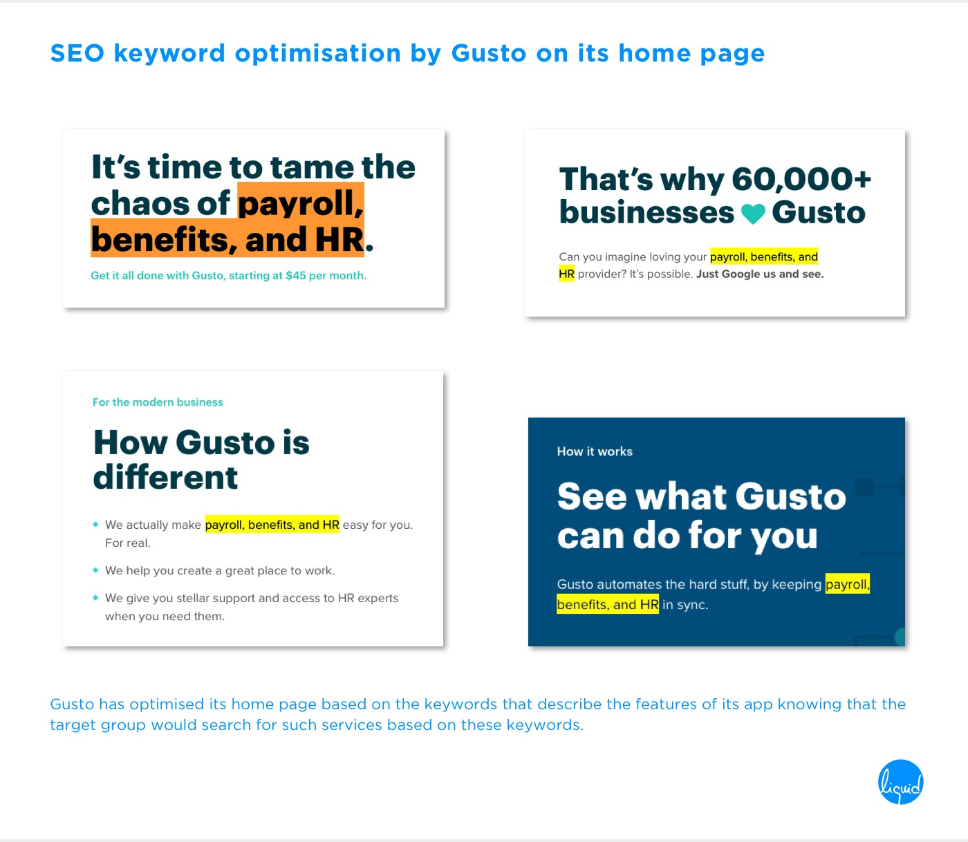 Conversions on home page Gusto SEO Optimisation