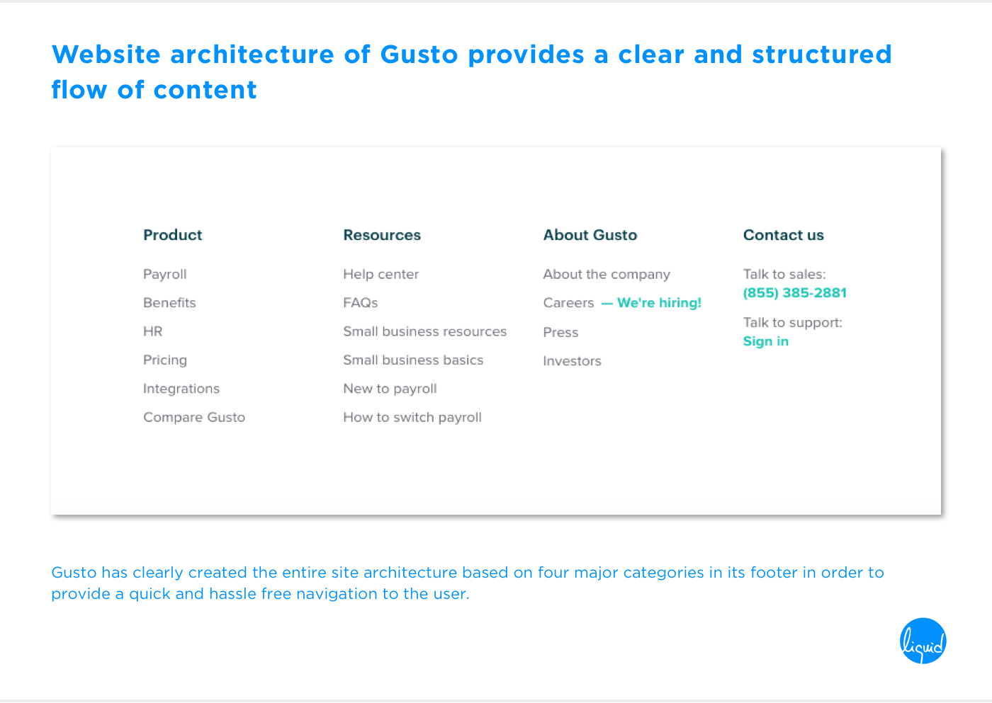 Conversions on home page Gusto Site Architecture, Flow and Structure