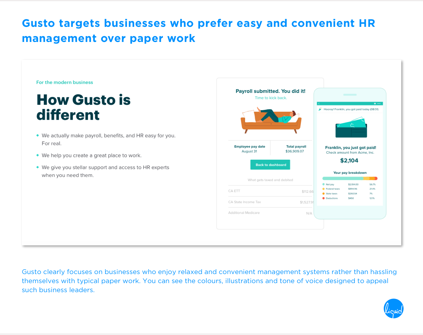 Conversions on home page Gusto Targeting