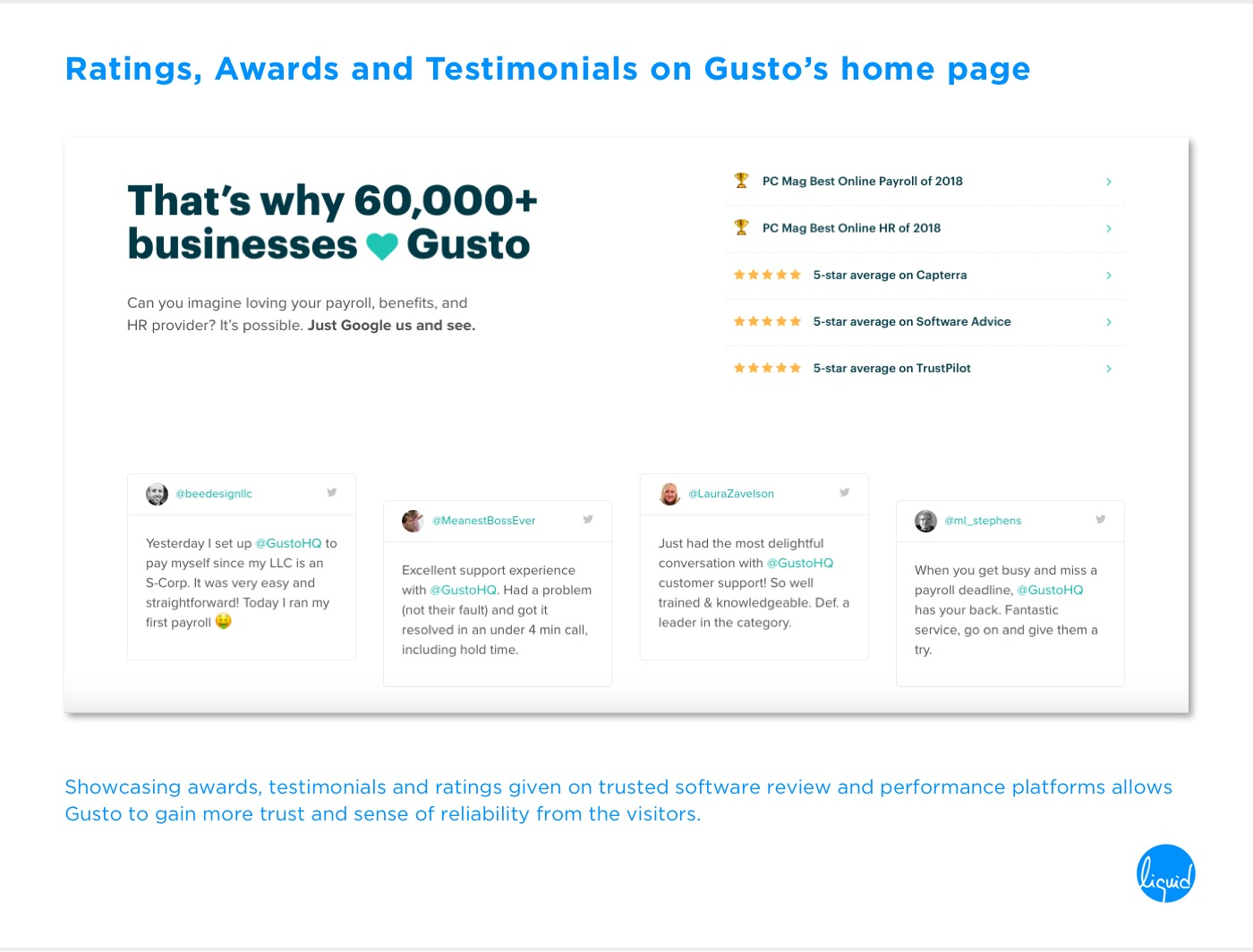 Conversions on home page Gusto Testimonials