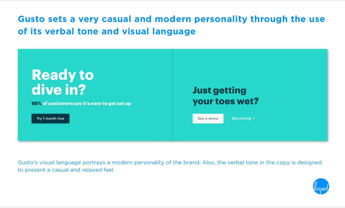 Conversions on home page Gusto Visual Language and Verbal Tone